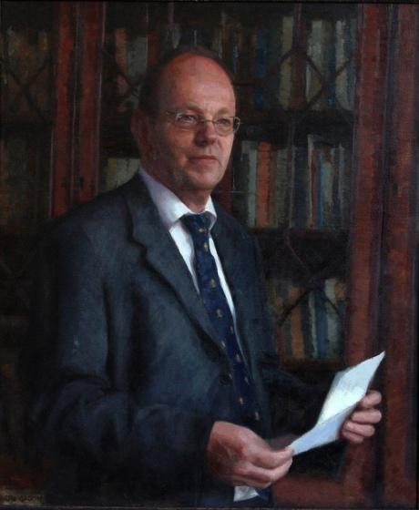 Mr Tim Wilbur Headmaster of Rossall School. Oil on Canvas(40x30ins)