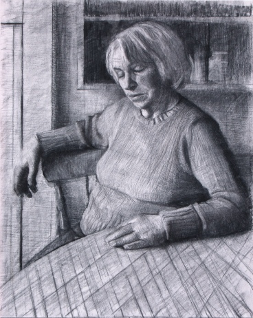 Molly Resting. Charcoal on White Paper(33x23ins)