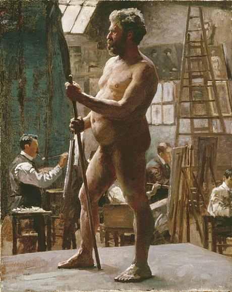 """Male Nude Model"" Oil on canvas 1902. Study made by Sir Alfed Munnings. Made at Academie Julian in Paris, a popular atelier where painting & drawing were studied."
