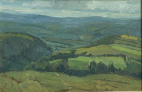 Hay bluff. Oil on board 7x 11ins