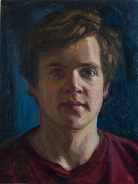 Study of a young man. Oil on board 8 x10ins