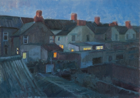 Terraced houses twillight. Oil on board. 14 x20 ins