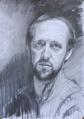 Self-portrait, Charcoal on paper, Joseph Galvin 2010